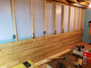 installation of Danish Pine planking using several Woodworker's Helpin' Hand tool