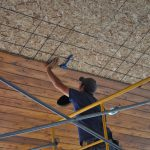 installing a tongue and groove cedar ceiling using the Woodworker's Helpin' Hand tool