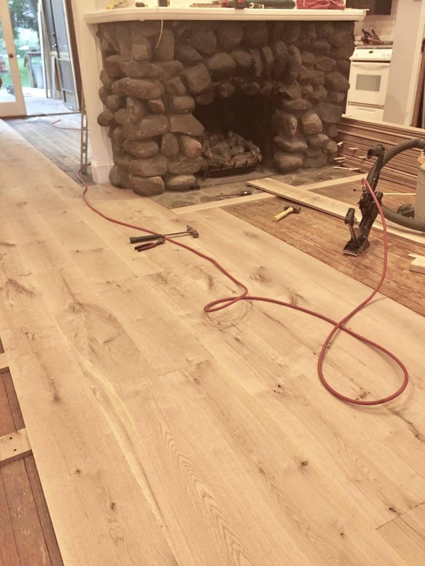 installing a custom milled white oak hardwood floor