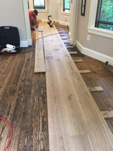 installing a custom milled white oak hardwood floor 2