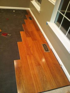 installation of Brazilian Cherry hardwood flooring